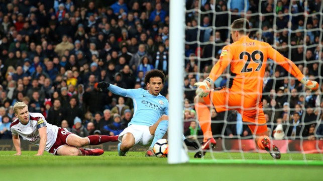 ​SANÉ STABS HOME: Leroy finds the bottom corner to extend City's lead.