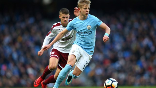 INVOLVED: Oleksandr Zinchenko saw plenty of the ball in the first half.