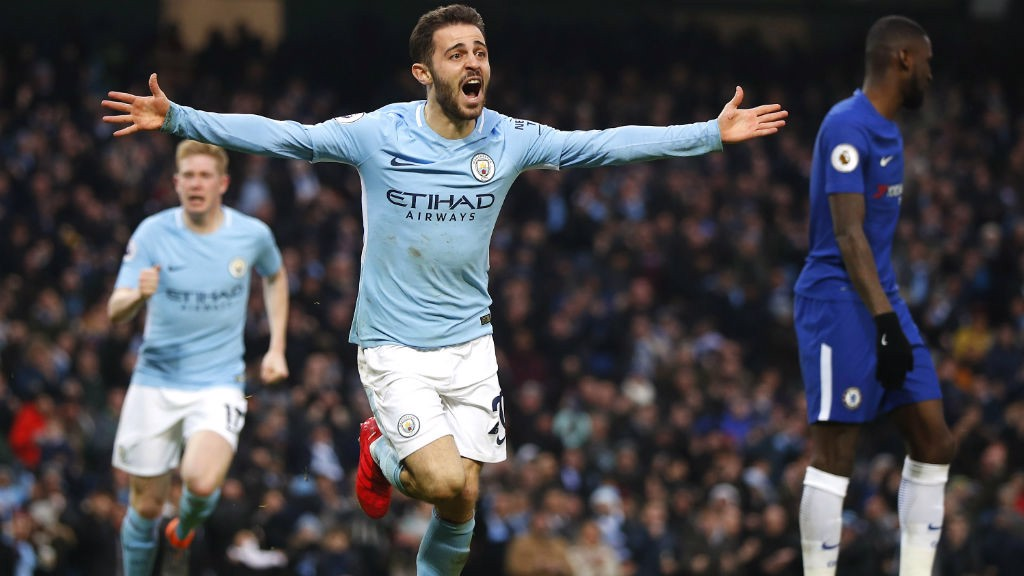 GOAL: Bernardo Silva celebrates after scoring the winner against Chelsea