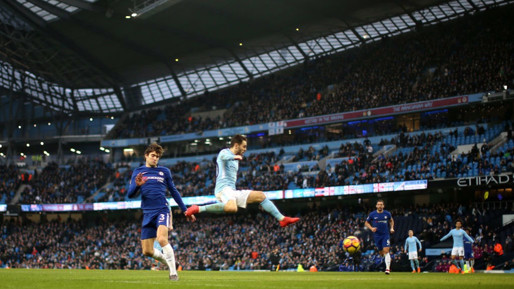 FLYING HIGH: Bernardo Silva makes it 1-0 at the Etihad.