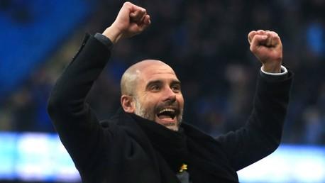 HAPPY MANAGER: Pep Guardiola celebrates Bernardo's goal.