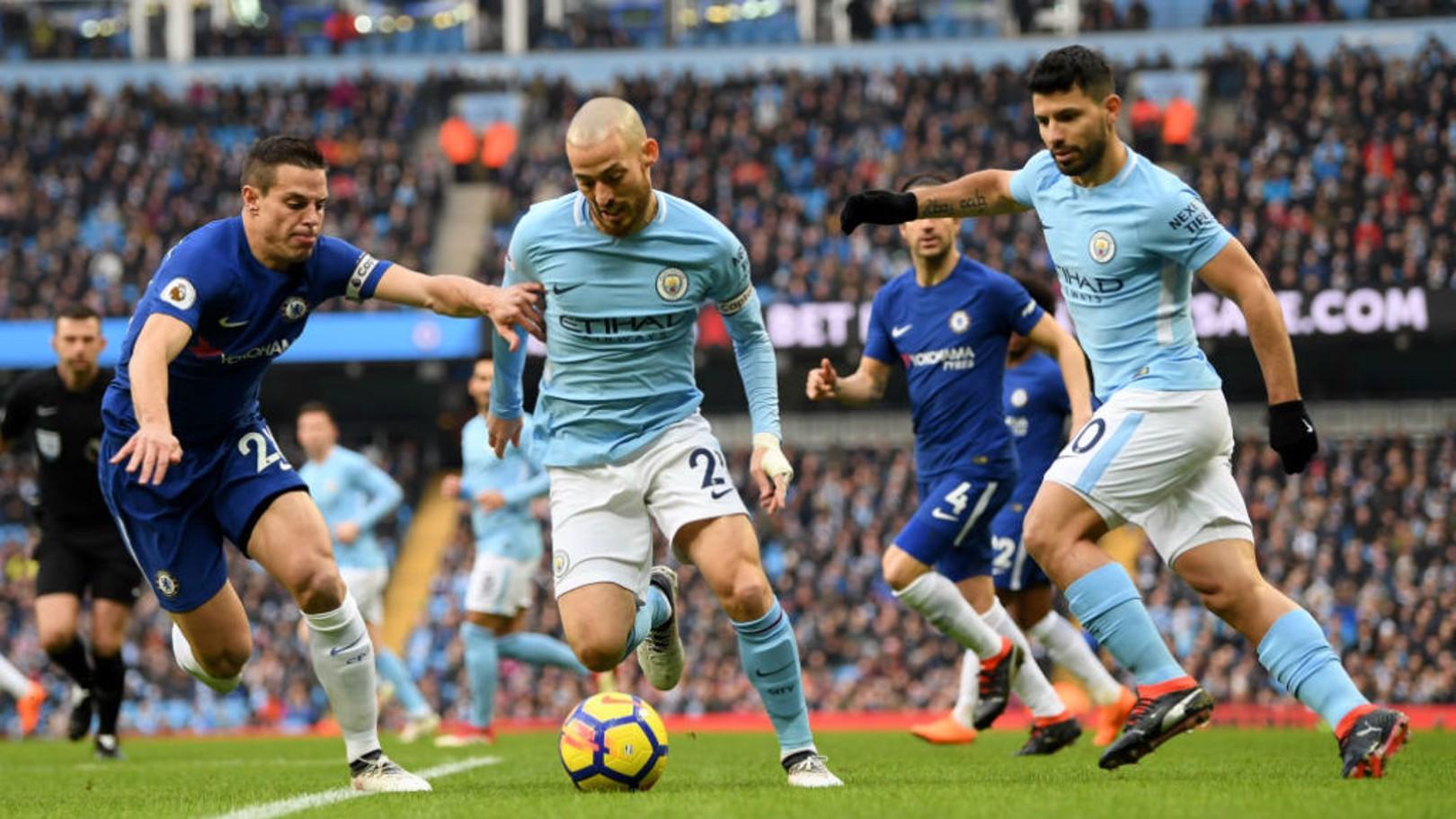 SKIPPER: David Silva wore the captain's armband against Chelsea.