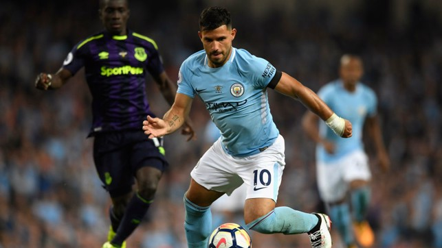 CLOSE CONTROL: Sergio Aguero keeps a close eye on the ball.