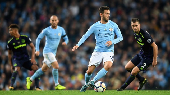 GETTING FORWARD: Bernardo Silva looks to start an attack for the Blues.