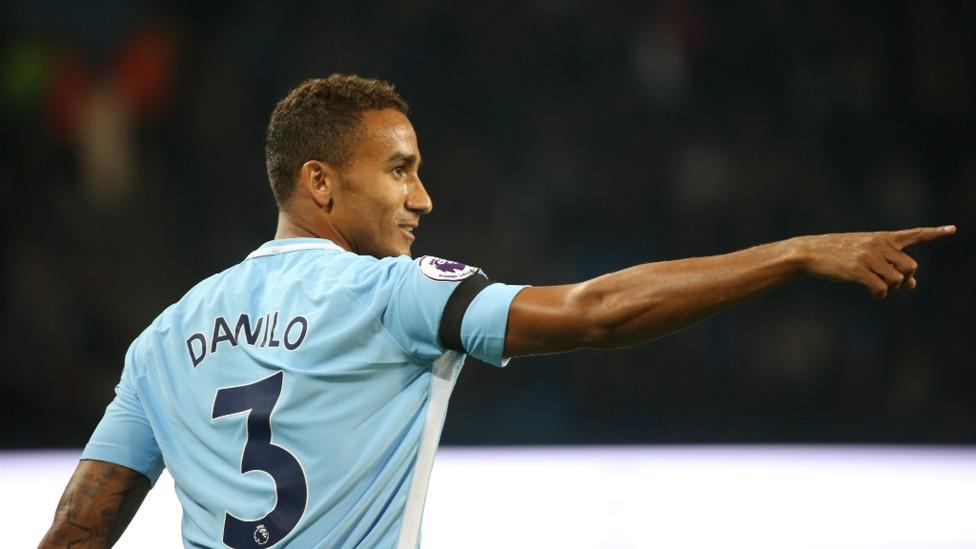 DANILO: The Brazilian defender organises his team mates in the second half.