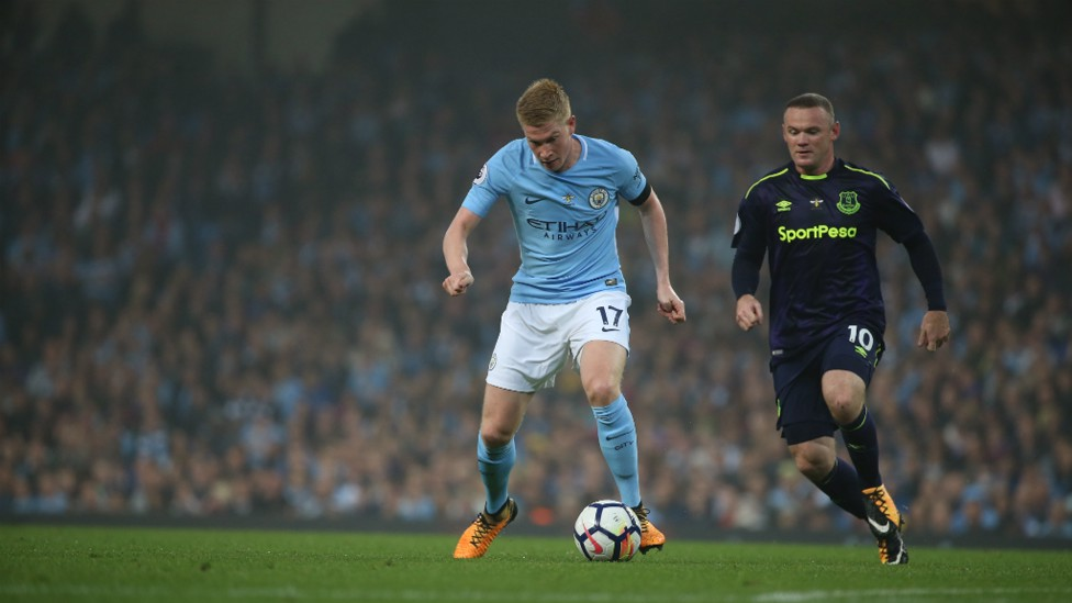 OUT WE GO: De Bruyne heads out for pre-match warm up