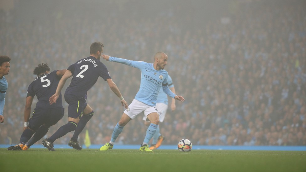 ON THE MOVE: Silva skips away from Schneiderlin