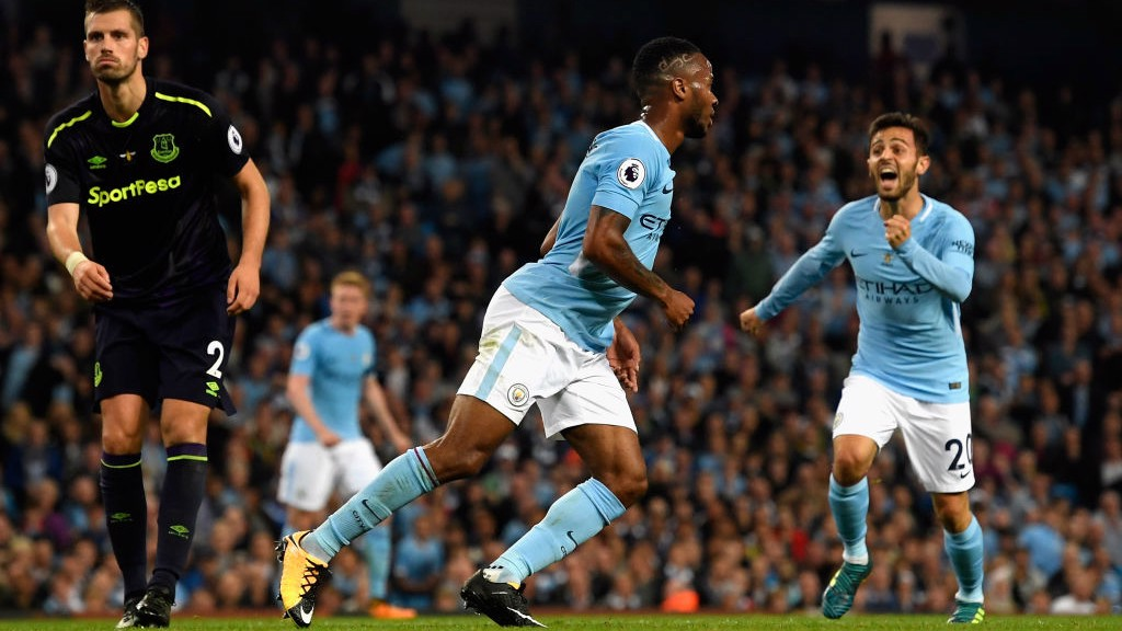 CELEBRATION: Raheem Sterling after equalising for City.