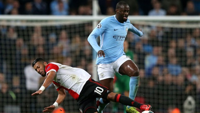THE KING: Yaya battles for possession