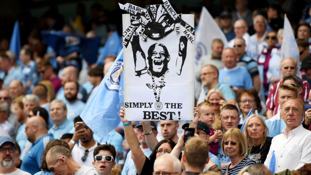 CAPTAIN FANTASTIC: The fans show their appreciation for skipper Vincent Kompany