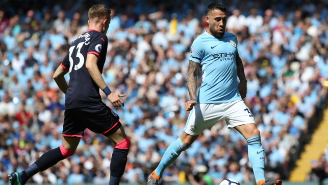 THE GENERAL: Nicolas Otamendi keeps calm