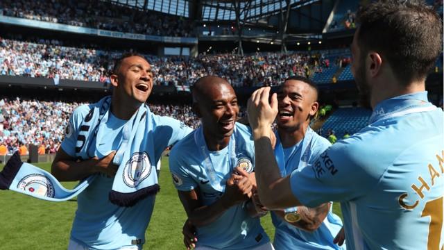 SOUTH AMERICAN BLUES: Danilo, Fernandinho, Gabriel Jesus and Bernardo Silva celebrate