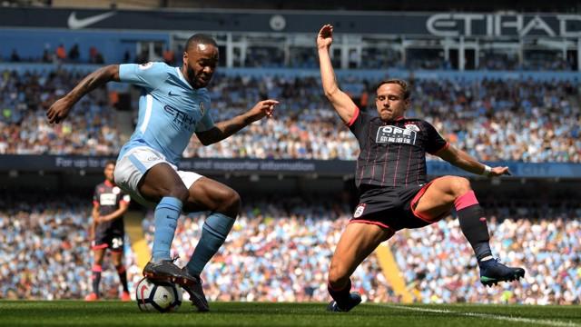 STERLING WORK: Leroy Sane flicks the ball back neatly