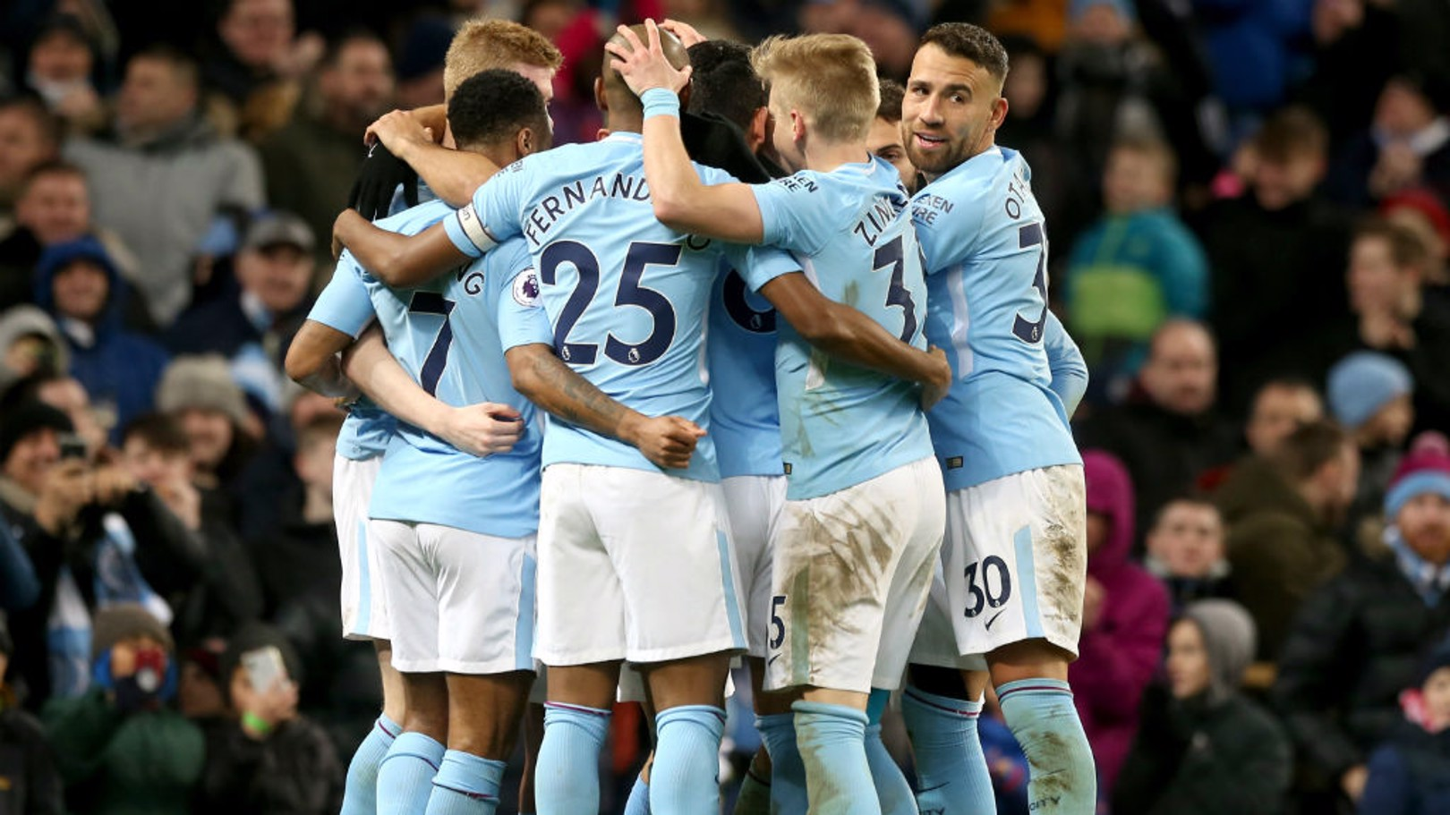 THREE: The team celebrate together after Sergio Aguero's second goal of the afternoon.