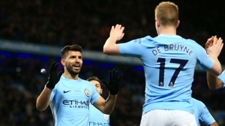 ASSIST KING: KDB celebrates with Aguero after providing yet another incredible assist.