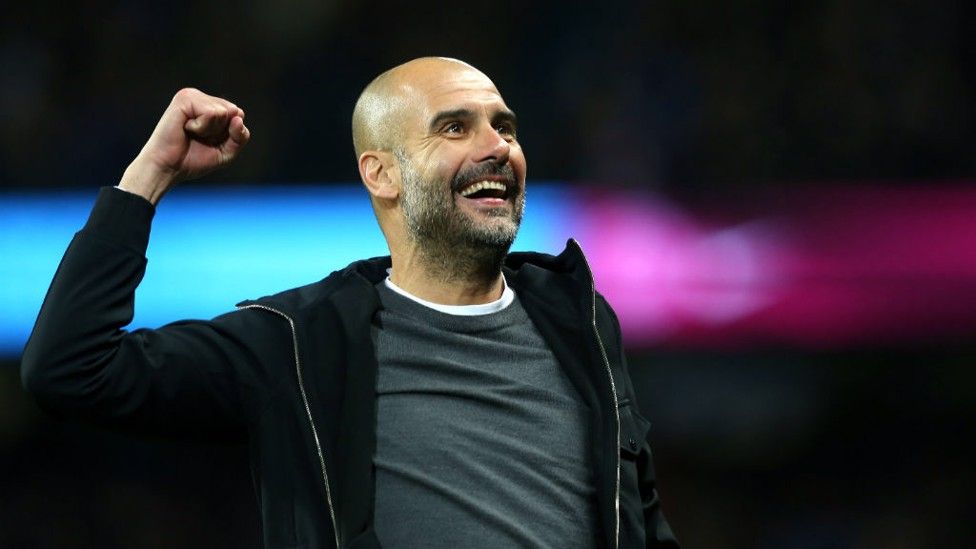 THE BOSS: Pep celebrates after City's third goal.
