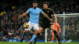AGUERO: The Argentinian in action during the second half.