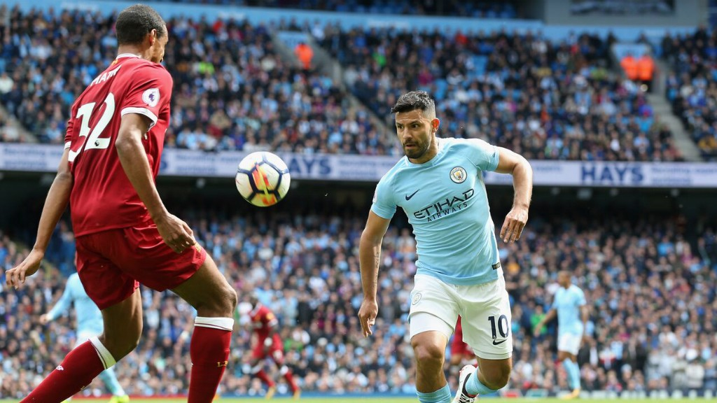 HUNGRY: Sergio Aguero hunts down possession
