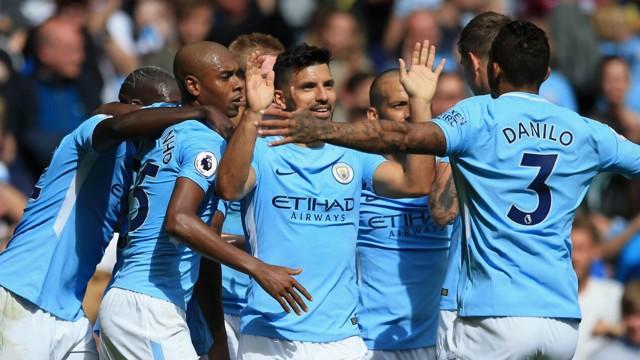 RECORD BREAKER: Sergio Aguero celebrates his 124th Premier League goal