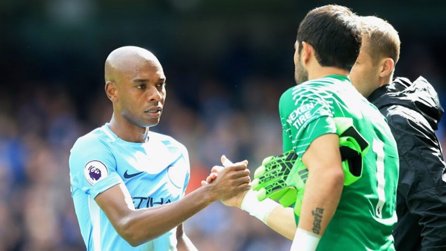KEEPER CHANGE: Fernandinho welcomes Claudio Bravo to the fray