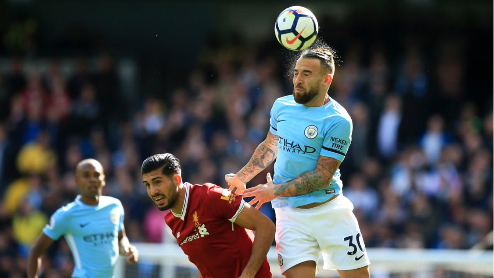 ON YER HEAD: Nicolas Otamendi heads clear