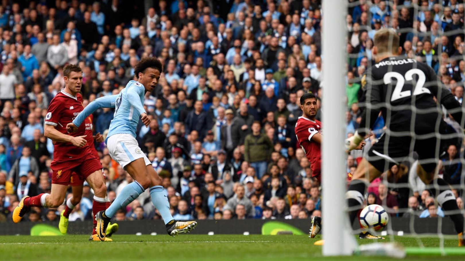 ON TARGET: Leroy Sane fires an effort goalwards.