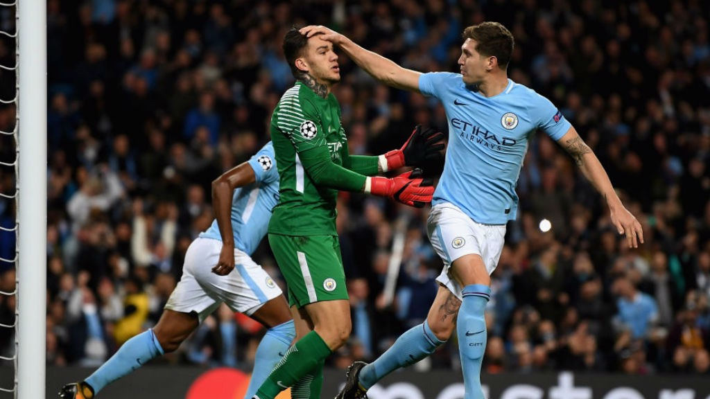 A BIG HAND: John Stones salutes Ederson after his penalty save