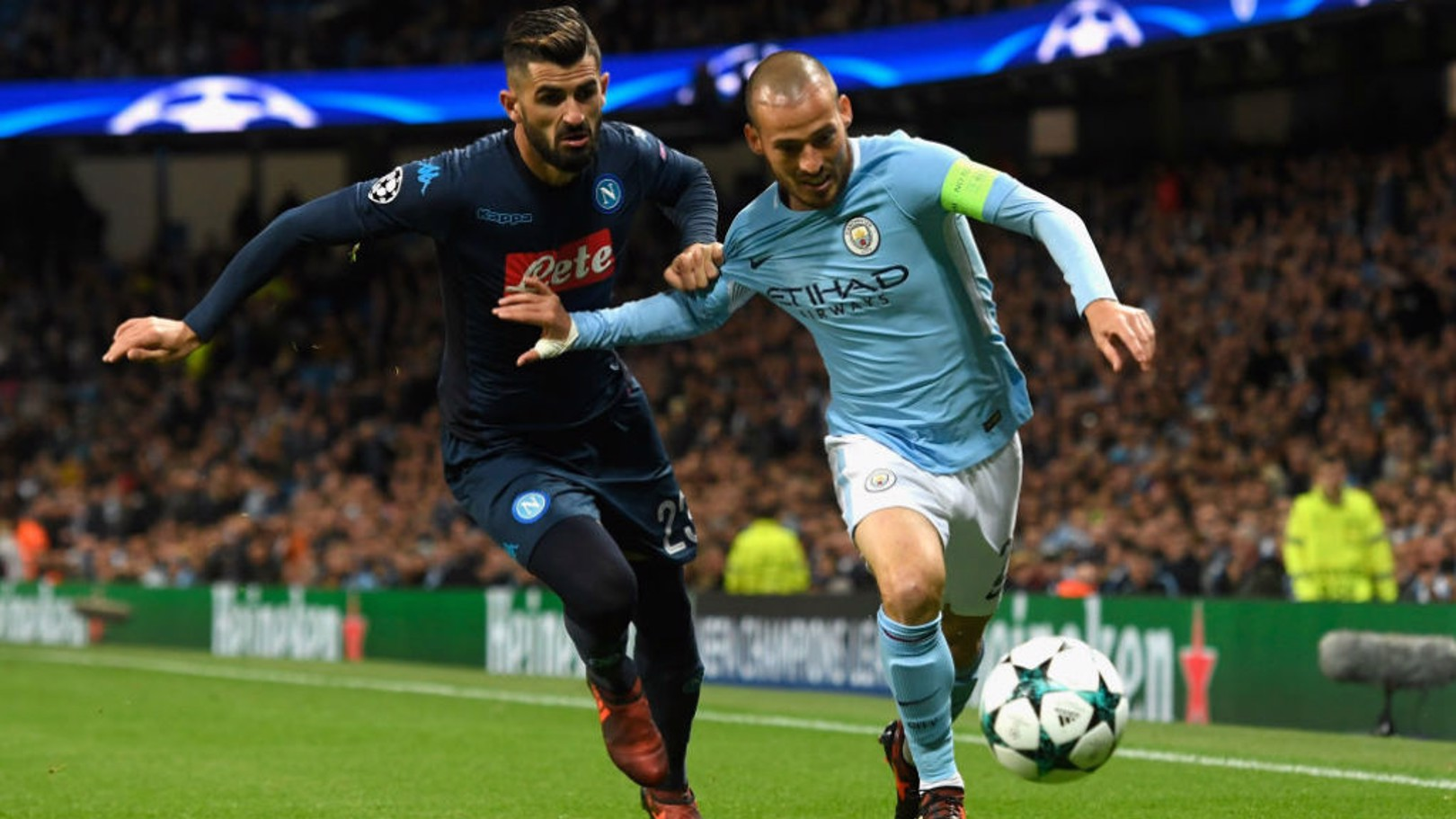 LEADING MAN: David Silva puts City on the front-foot again against Napoli in a tight Etihad Stadium match this season