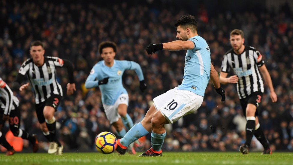 AT THE DOUBLE: Sergio Agüero finds the back of the net from 12 yards to double City's lead.