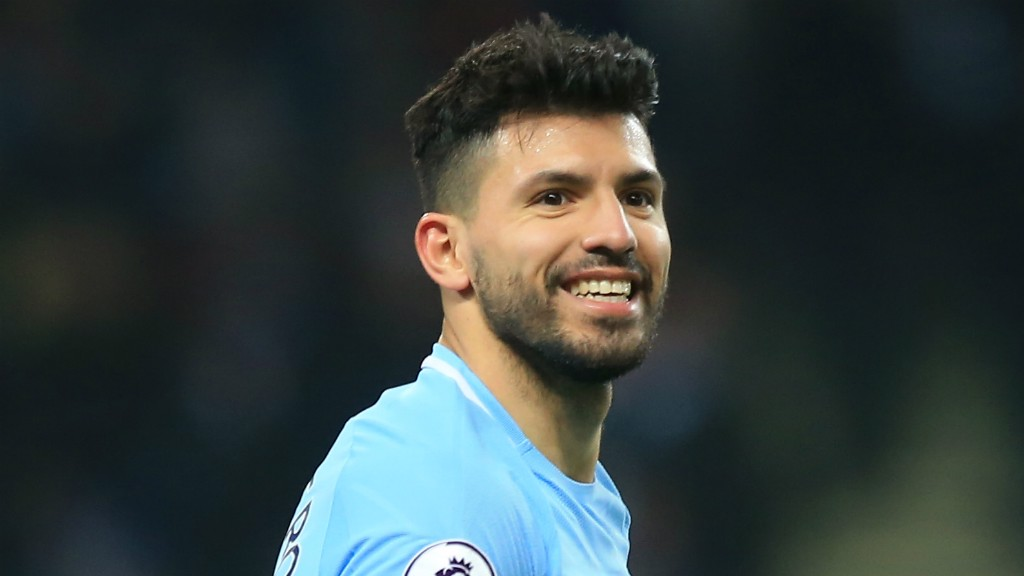 TOP TREBLE: A delighted Sergio Aguero, having hit a hat-trick against Newcastle