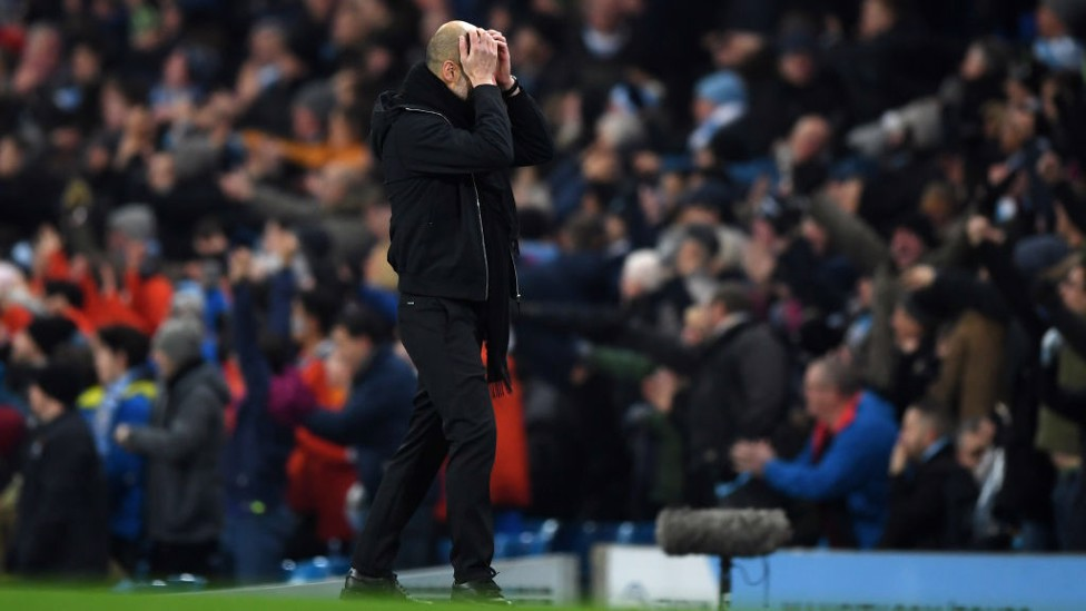 CLOSE: Pep Guardiola rues City's misfortune as Raheem Sterling's goal is disallowed for offside.