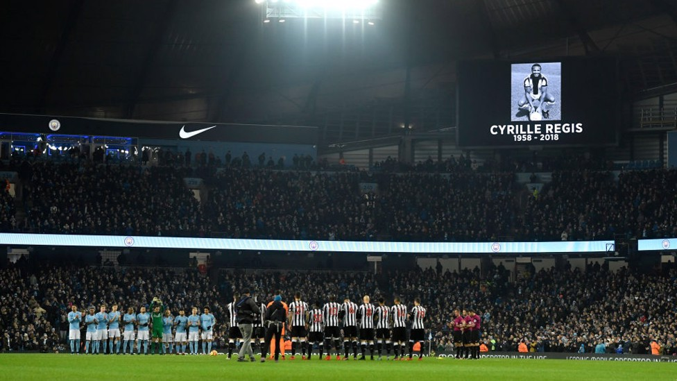 RESPECT: A minute's silence is impeccably observed in memory of the late Cyrille Regis.