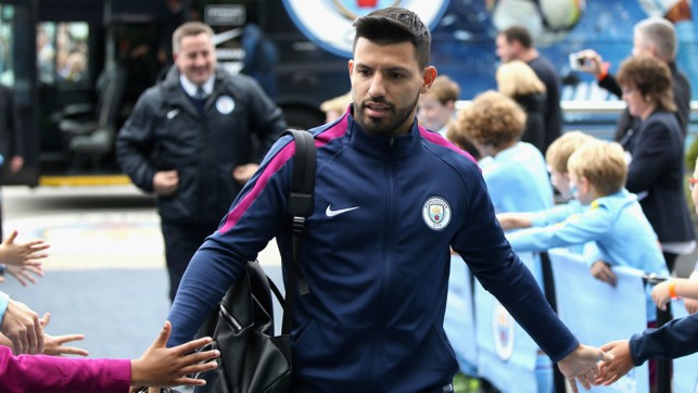 Focused: Aguero is just three goals away from breaking the record