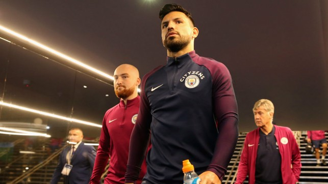 FOCUSED: Aguero heads out for the pre-match warm up