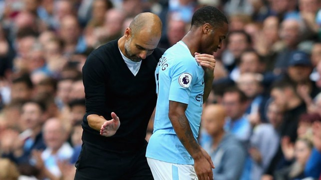PEP TALK: Guardiola gives Raheem Sterling a well-earned rest