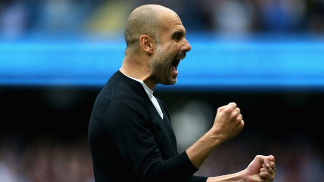 PEP: The boss celebrates City's third goal against Palace