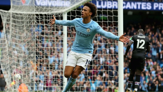 MAN OF THE MOMENT: Five goals in five games for Leroy Sane, as Pep Guardiola's side thrashed Crystal Palace