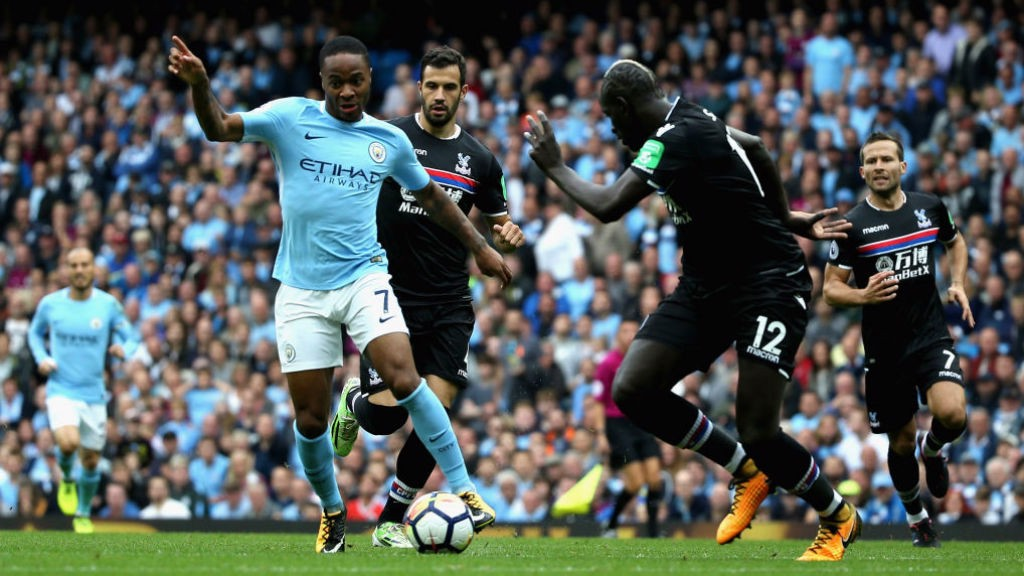 STERLING PLAY: Raheem dances his way into the area