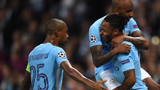 CELEBRATION: Fernandinho celebrates Sterling's goal with Delph