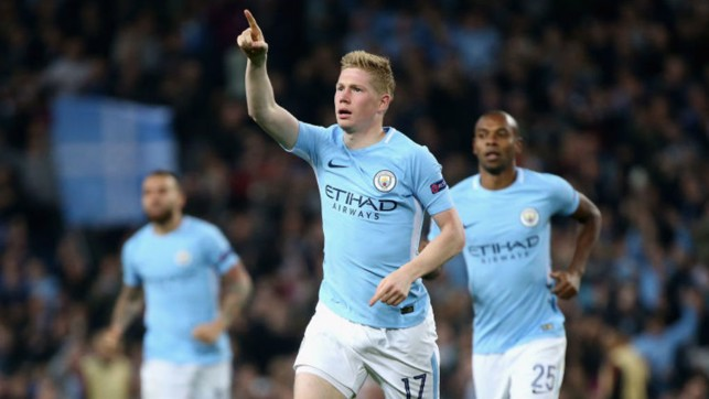 SPECIAL K: Kevin De Bruyne celebrates after his stunning strike