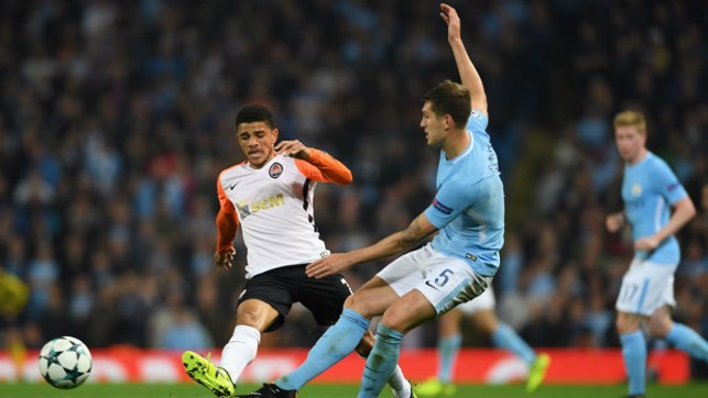 NO ENTRY: John Stones blocks a Shakhtar attack