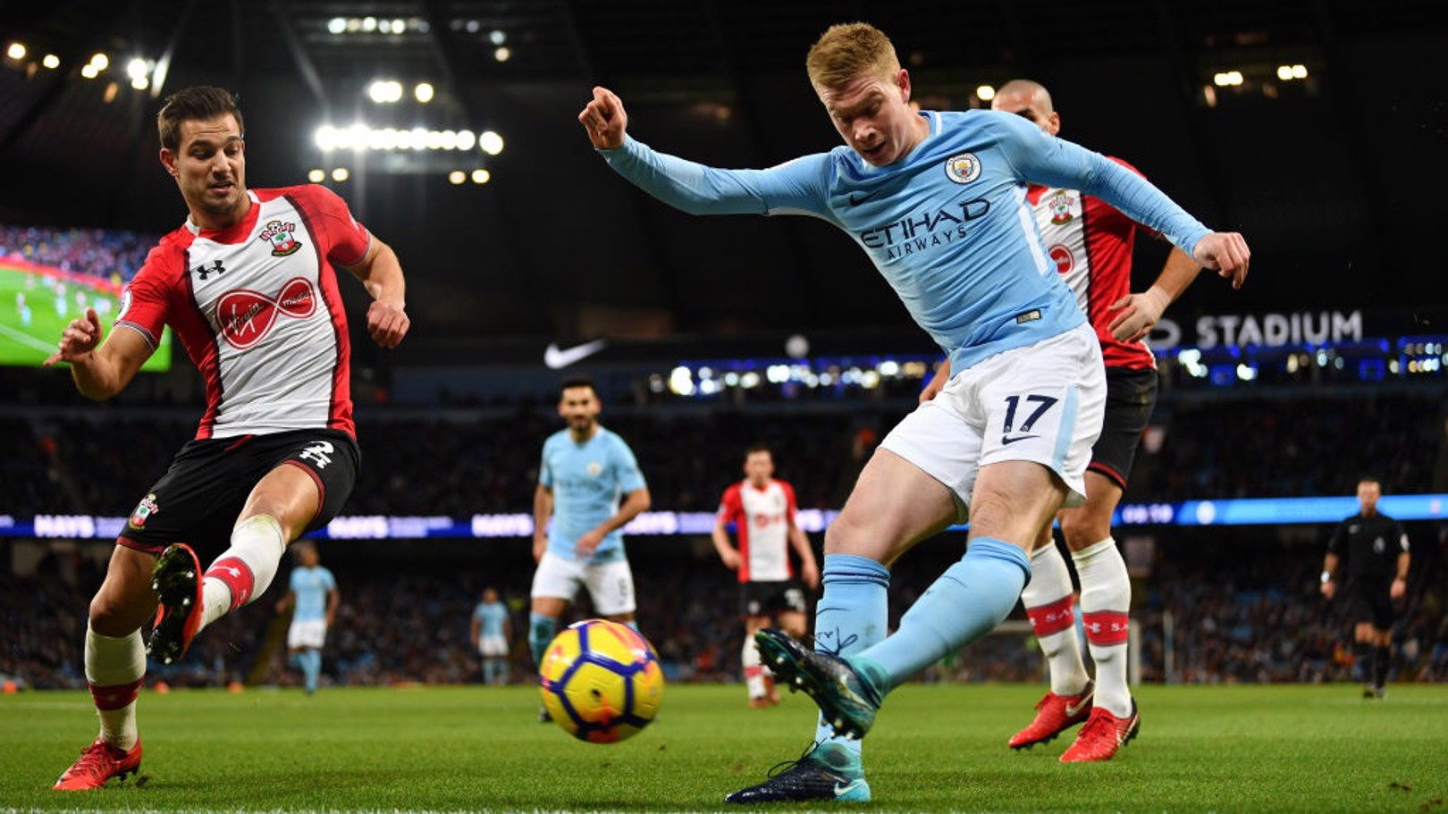 PROBING: Kevin De Bruyne looks for an opening in Southampton's resolute defence.