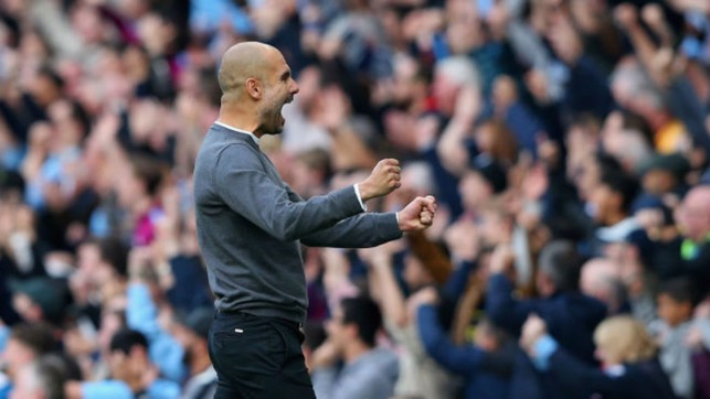PURE JOY: Pep Guardiola can't contain his delight after City's third goal