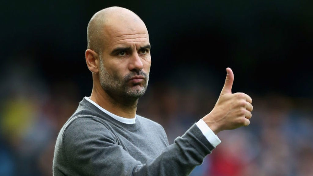 THUMBS UP: Pep Guardiola was understandably happy with what he saw