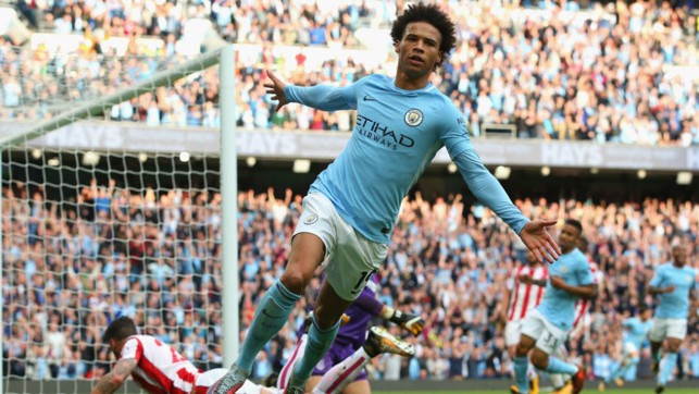 SIX OF THE BEST: Leroy Sane wheels away in triumph after making it 6-2