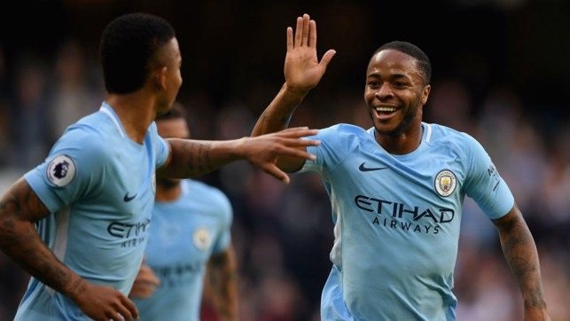 LETHAL WEAPONS: Goalscorers Gabriel Jesus and Raheem Sterling celebrate City's second