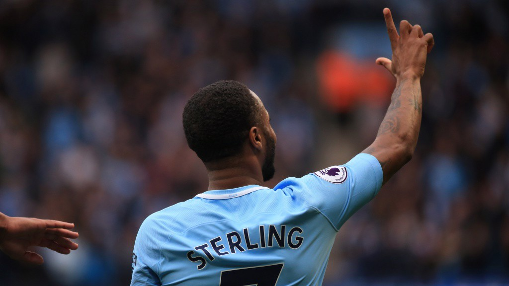 AT THE DOUBLE: Raheem Sterling celebrates after doubling City's advantage.