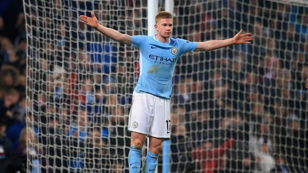 MASTERCLASS: Kevin De Bruyne celebrates City's second goal of the game.