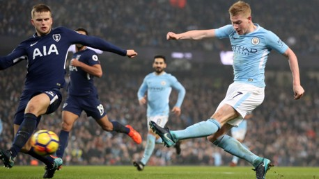 ON FIRE: Kevin De Bruyne leaves Tottenham's Hugo Lloris with no chance for City's second.