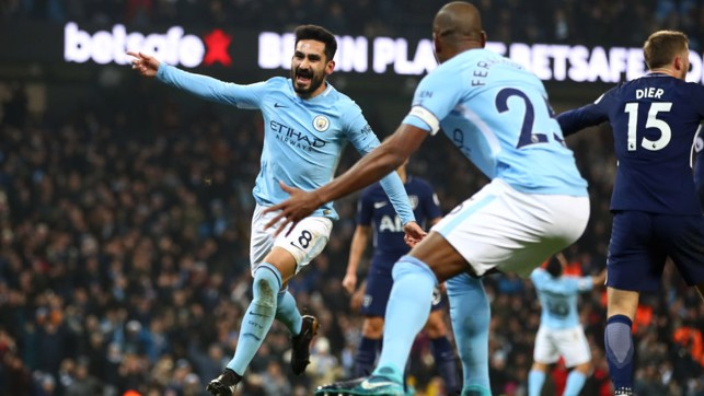 DELIGHT: Ilkay Gundogan celebrates putting City a goal to the good.